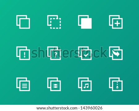 Copy Paste Icons for Apps, Presentations, Web Pages on green background. Vector illustration.  - stock vector