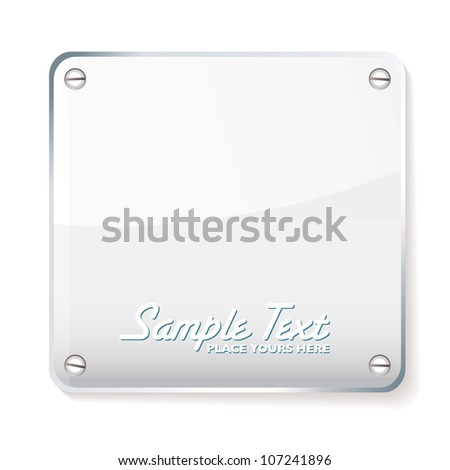Copy space for your company name on glass plate with shadow - stock vector
