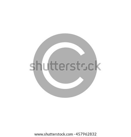 copyright C vector graphic symbol art illustration icon - stock vector