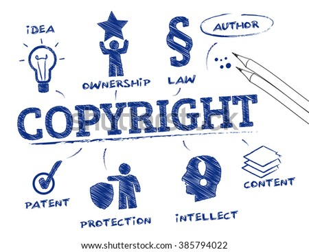 Copyright. Chart with keywords and icons - stock vector