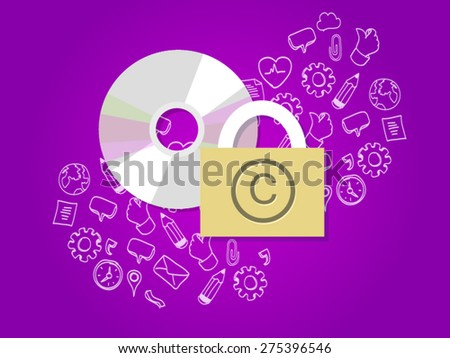 copyright data music protection intellectual property  - stock vector