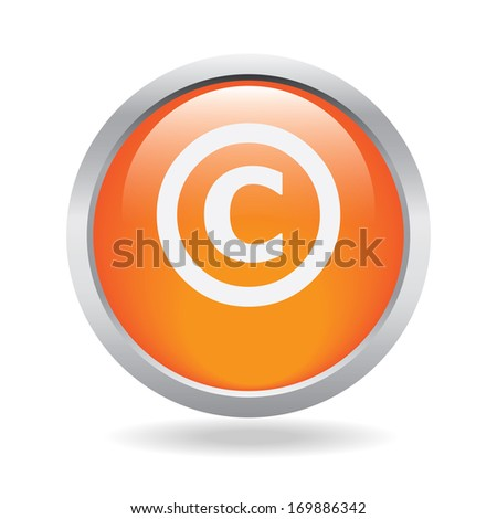 Copyright icon on a orange glassy button isolated over white background
