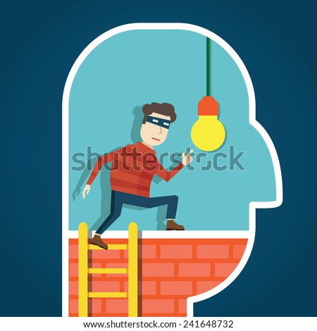 Copyright infringement. To steal an idea - vector illustration - stock vector