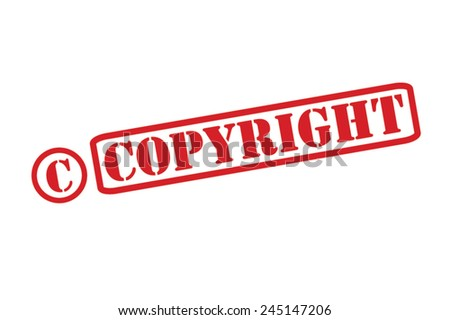 COPYRIGHT Red Rubber Stamp Vector over a white background. - stock vector