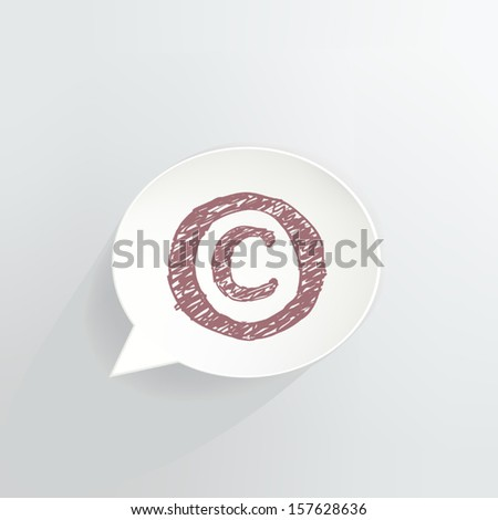 Copyright Speech Bubble Icon - stock vector