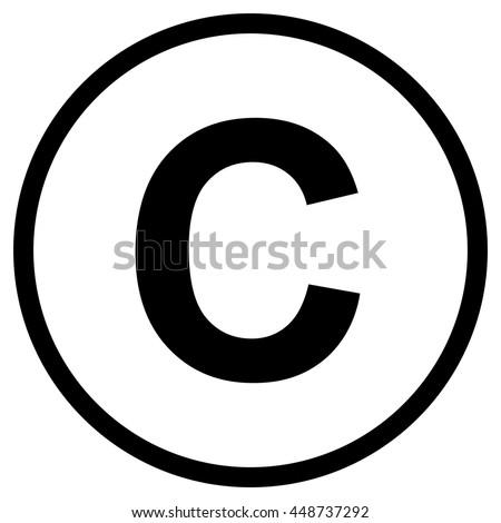 Copyright symbol , isolated black vector illustration - stock vector