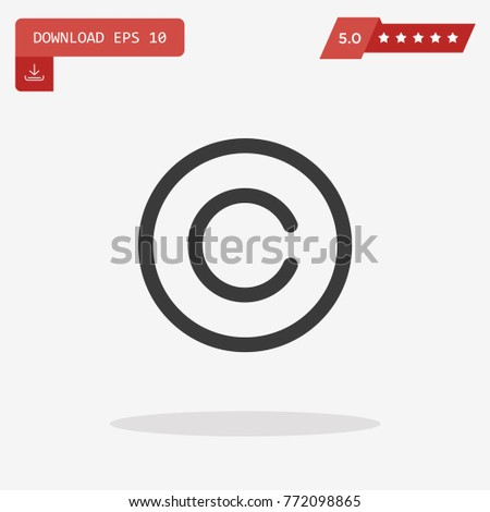 Copyright Symbol Isolated On Grey Background Stock Vector 772098865