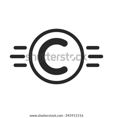 copyright symbol like intellectual property. concept of copyright protection, visual identity, ownership, abc. isolated on white background. flat style trend modern c logo design vector illustration - stock vector