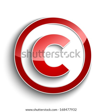 Copyright symbol with shadow effect isolated on white background - stock vector