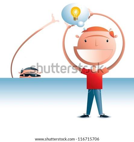 Copyright thief Man holding a thought bubble with a light globe in it representing an idea. There's a thief in the background attempting to steal the idea. - stock vector