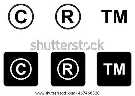 copyright trademark icons set stock vector royalty free 467468528