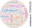 COPYRIGHT. Word collage on white background. Illustration with different association terms. - stock photo