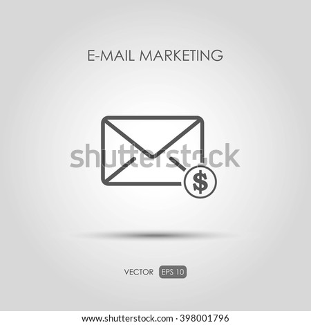 """Copywriting icon """"E-mail marketing"""" in linear style. Vector illustration - stock vector"""