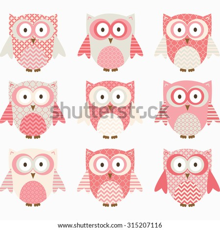 Coral and Grey Cute Owl Collections. - stock vector