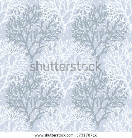 Coral print. Blue background. Seamless pattern. Vector
