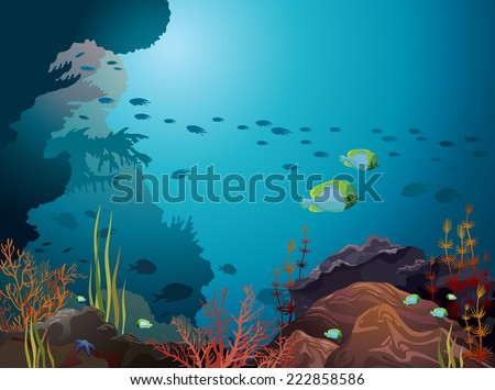 Coral reef and underwater creatures on a blue background. - stock vector