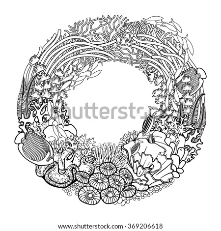 Coral reef drawn line art style stock vector royalty free for Ocean plants coloring pages