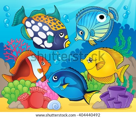 Coral reef fish theme image 8 - eps10 vector illustration. - stock vector