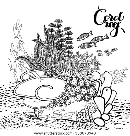 fish aquarium decorations coloring pages | Coral Reef Line Art Style Ocean Stock Vector 358073948 ...