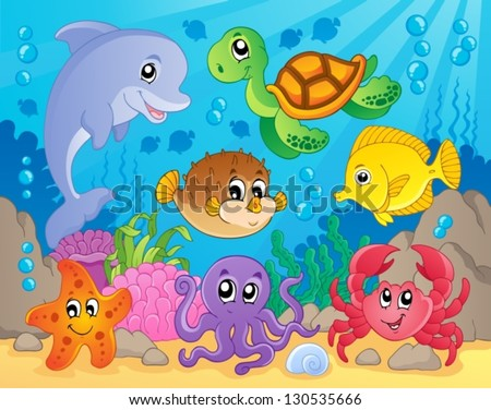 Coral reef theme image 5 - vector illustration. - stock vector