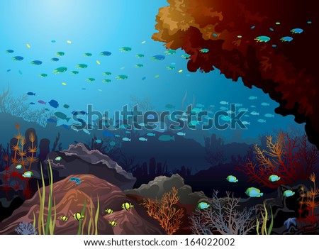 Coral reef with school of fish and underwater creatures in a blue sea. - stock vector