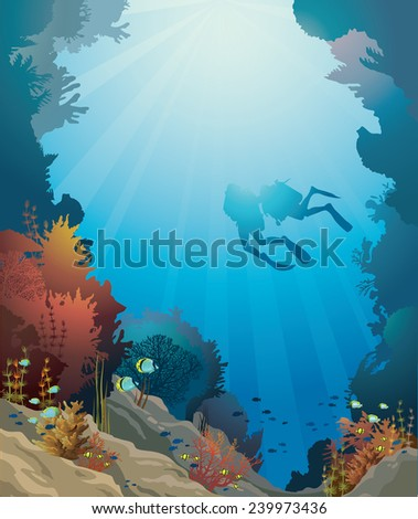 Coral reef with underwater cave and silhouette of two divers on a blue sea.  - stock vector