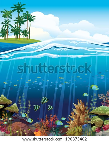 Coral reef with underwater creatures and green island with palm on a blue sky.  - stock vector
