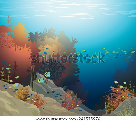 Coral reef with underwater creatures on a blue sea. Vector ocean illustration. - stock vector