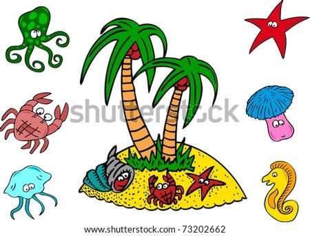Coral sea animals - stock vector