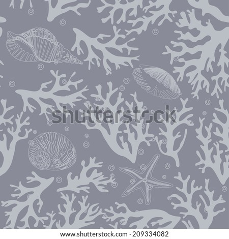 Coral, seashells seamless pattern in vintage style. Vector illustration  - stock vector