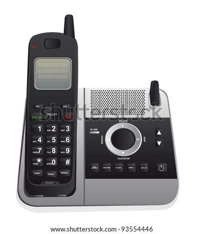 cordless phone isolated over white background. vector - stock vector
