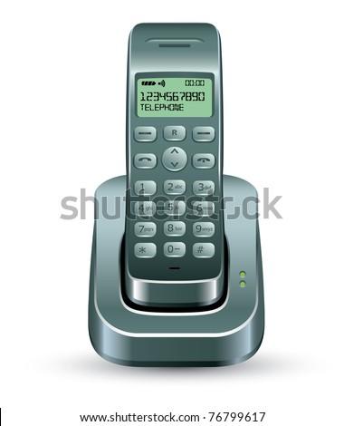 Cordless Phone vector - stock vector