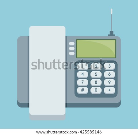 Cordless phone vector flat icon. Vector flat icon of phone with keypad and display. - stock vector