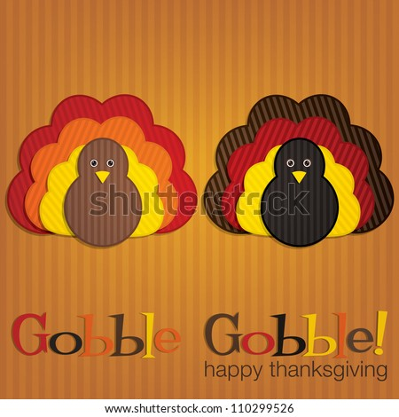 Corduroy turkey Thanksgiving card in vector format. - stock vector
