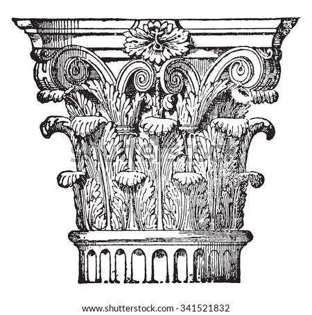 Corinthian capital, vintage engraved illustration. Industrial encyclopedia E.-O. Lami - 1875. - stock vector