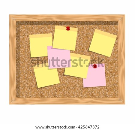 Cork board isolated over white background with sheets of paper for notes