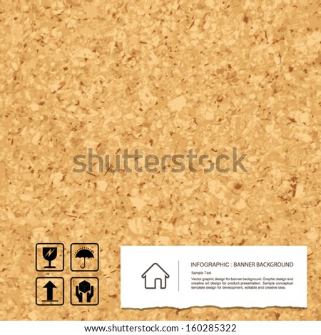 Cork board texture background and vintage paper with fragile symbol - Vector illustration - stock vector