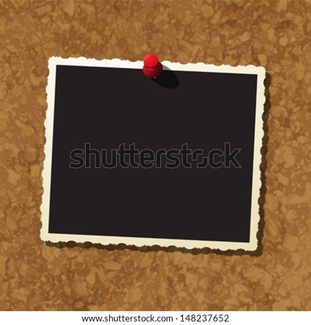 Cork board with instant photo frame and push pin, vector template - stock vector