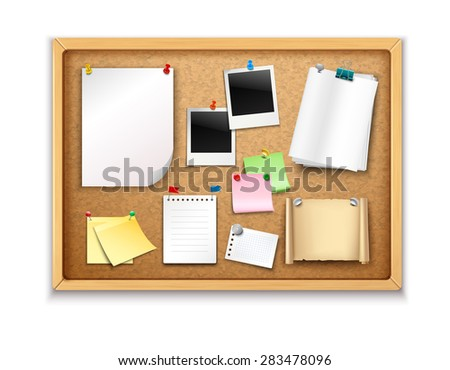 Cork board with pinned paper notepad sheets and photos realistic vector illustration - stock vector