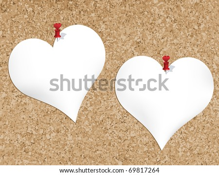 cork bulletin board with heart shaped notepads also available jpg version