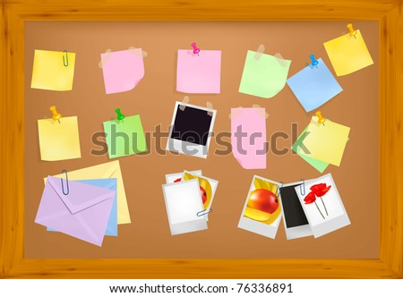 Cork notice board with office supplies. Vector. - stock vector