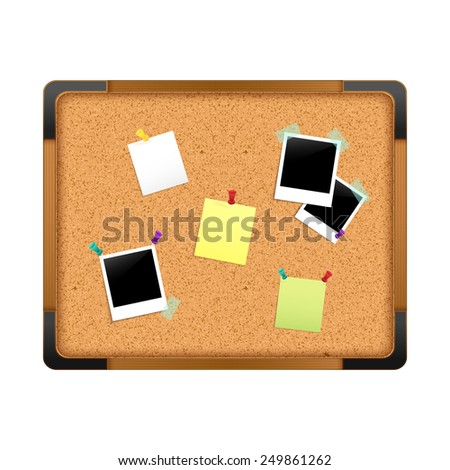 Cork notice board with paper message notes photos and pushpins isolated on white background vector illustration - stock vector