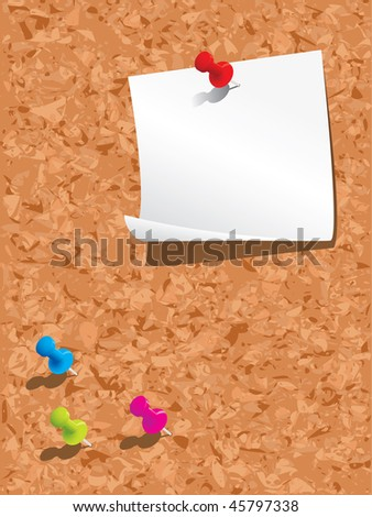 Corkboard, paper and pins - stock vector