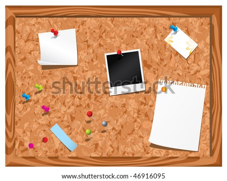 Corkboard with stationery - stock vector