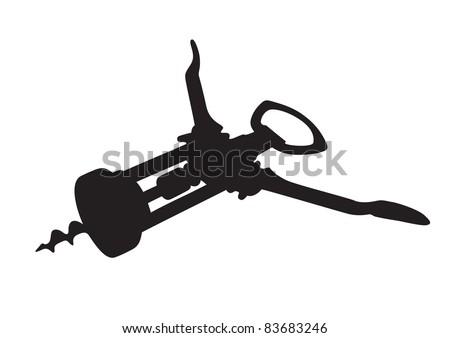 Corkscrew (wine opener) on white. Vector illustration - stock vector