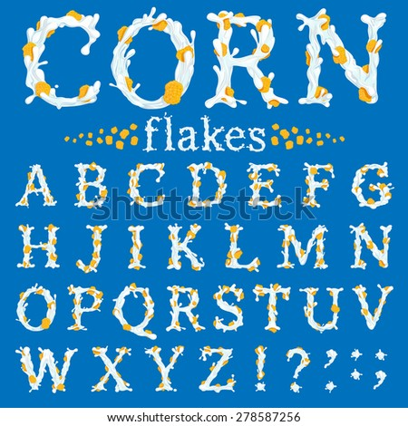 Corn flakes with milk FONT. Part 1/3, Capital letters - stock vector