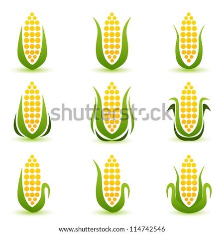 Corn Icon or symbol vector set - stock vector