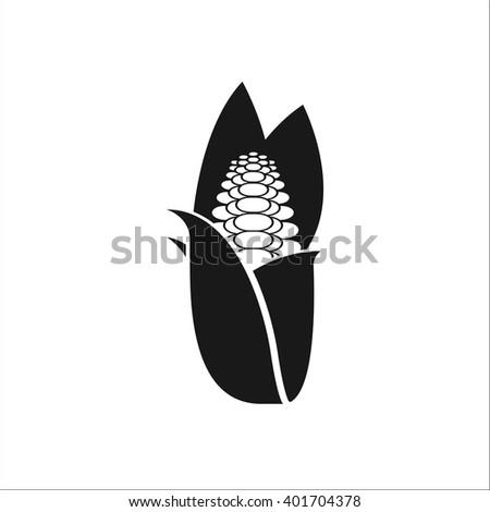 Corn Symbol Simple Icon On White Stock Vector 401704378 Shutterstock