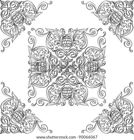 Corner elements and nice rosette - stock vector
