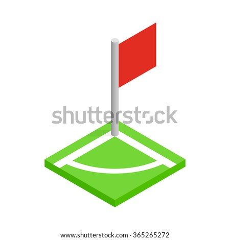 Corner of a soccer field isometric 3d icon on a white background - stock vector